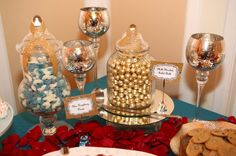 Teal, red, and gold candy station. Candy Stations, Gold Candy, Wedding Planning, Teal, Sweet, Blog, Wedding Ceremony Outline, Candy Buffet