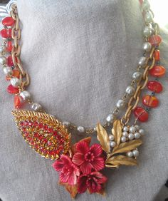 Vintage 2 Creations - this is made from vintage jewelry. love the colors