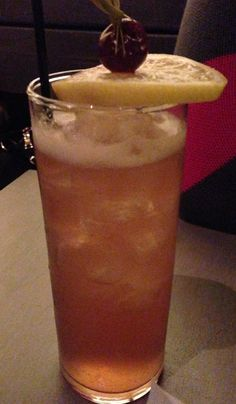 Long Goodnight: Roasted Pineapple Cocchi American, Lemon Berry Tea Syrup, Benedictine, Orange Bitters - at bellyq.