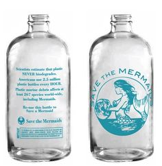 Re-use this bottle to Save a Mermaid. * Beautiful and Classic Glass Water Bottle * Twist on cap * Save The Mermaids organization acts as ambassadors to the sea by educating our community about human-sourced ocean pollution and advocating for behaviors that benefit the
