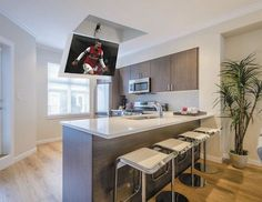 Para may refer to: Tv In Kitchen, Kitchen Living, Home Living Room, Kitchen Decor, Support Tv Plafond, Tv Escondida, Interior Design Kitchen, Interior Decorating, Game Loft