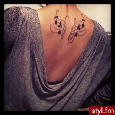 Musical notes in the form of wings