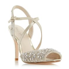 ROLAND CARTIER LADIES MISTORY - Cross Strap Peep Toe Sandal - gold   Dune Shoes Online
