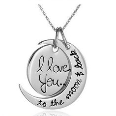 I Love You To The Moon and Back Engraved Pendant Necklace
