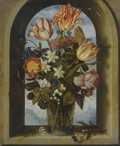 Ambrosius Bosschaert the Elder - A still life of tulips, moss-roses, lily-of-the-valley and other flowers.Jpeg