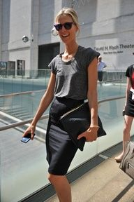 Cute and simple black pencil skirt with grey tshirt