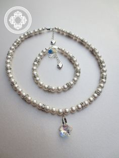 Flower Girl  SET  Necklace and Bracelet in by JewlesDesigns, $85.00