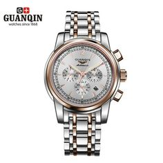 83.42$  Buy now - http://alii24.worldwells.pw/go.php?t=32629791934 - Top Brand GUANQIN Men Mechanical Watch Luxury Big Dial Watches Waterproof Stainless Steel Wristwatches Relogio Masculino Reloj
