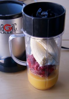 Raspberry banana drink: 1 banana, 1 Cup frozen raspberries, 1/2 cup orange juice, 1/4 cup plain non-fat yogurt