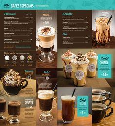 Menü Karte Cafe Spezialitäten inklusive Produktfotos.