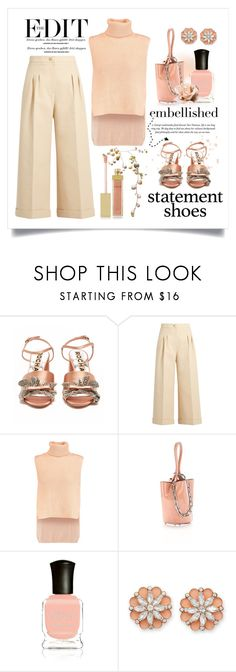 """""""Double Take. ... Embellished Statement Shoes"""" by conch-lady ❤ liked on Polyvore featuring Rochas, Fendi, 10 Crosby Derek Lam, Alexander Wang, Deborah Lippmann, BillyTheTree, AERIN, statementshoes, embellishedsandals and doubletake"""
