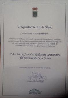 Galardón del ayuntamiento de Siero a las Guisanderas Asturianas, entre ellas Joaquina, nuestra alma mater. #Asturias