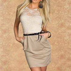 Women's Fashion Sexy Clubwear Translucent Lace Hollow Flower Patchwork Bodycon Dress – CAD $ 27.29