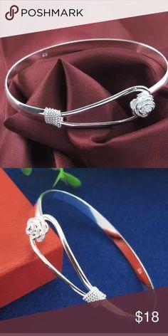 Gorgeous 925 Sterling silver bangle bracelet 925 Sterling silver bangle bracelet. Beautiful rose for closure Jewelry Bracelets