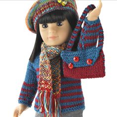 "<p>Knit or crochet this adorable pullover and shoulder bag or beret and scarf to accessorize Simplicity doll clothes pattern #<a href=""http://www.simplicity.com/simplicity-pattern-3551-doll-clothes-for-18-doll/3551.html"">3551</a>. Designed by Susan Levin and Elisa Purnell.</p>  <p style=""text-align:center""><img alt=""""…"