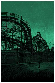 Illustration by Daniel Danger, I like the dark and somewhat creepy atmosphere created by the silhouette of the roller coaster in this image Dark Green Aesthetic, Aesthetic Colors, Aesthetic Pictures, Goth Aesthetic, Abandoned Amusement Parks, Abandoned Places, Abandoned Mansions, Gravure Illustration, Slytherin Aesthetic