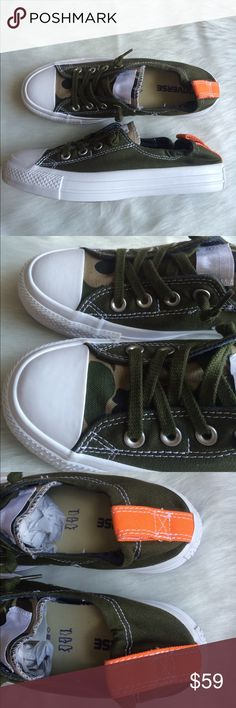 CONVERSE OLIVE GREEN WOMENS SIZE 7.5 SHORELINE Brand new without box. Shoes were custom made on the Nike website. Nike iD's. WOMENS size 7.5 Converse Shoes Sneakers