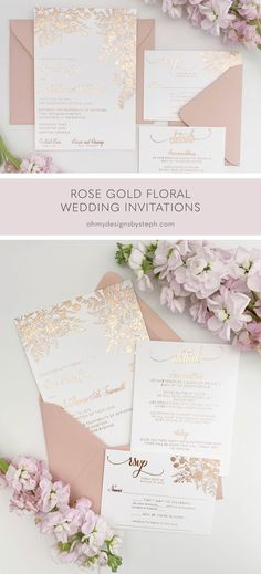 Pink Wedding Invitations for a Rose Gold Wedding - make a first impression for your romantic day with these unique wedding invitations!