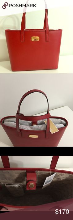 NWT authentic Michael Kors Jet Set Red Tote NWT Red Michael Kors Jet Set Tote. Beige inside with one pocket with a zipper. Approximate dimensions are 15L x  10.5H x 4D. Michael Kors Bags Totes