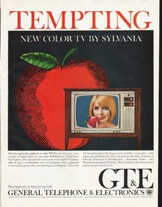 "1965 GENERAL TELEPHONE & ELECTRONICS vintage magazine advertisement ""Tempting"" ~ Tempting - New Color TV By Sylvania - Sylvania upsets the applecart in color TV. ~"