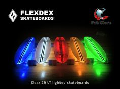 RIDE AT STYLE in the day and night with Flexdex Clear 29LT lighted skateboards - the durable, high-performance skateboards with super-smooth suspension and an eye-catching design. Now with the best prices ever, it's the time to grab yours. Available at Fab Store outlet in Spinneys, the Pearl Qatar, Madinat centrale,  GoSport, Virgin Megastore & FNAC. Or buy online at http://fab-store.com