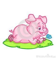 Pig lying  lawn   image animal character  cartoon illustration