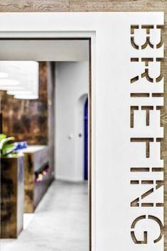 Minimalist meeting room door sign | interior graphics, interior design, office interiors, signage