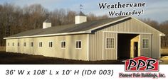 "Weathervane Wednesday!  Building Dimensions: 36' W x 108' L x 10' H 36' Standard Trusses, 4' on Center, 4/12 Pitch  Miscellaneous: (2) 48"" Cupola with Louvers (2) 46"" Horse Weathervanes  For More Details: http://pioneerpolebuildings.com/portfolio/project/36-w-x-108-l-x-10-h-id-003-total-cost-65487"