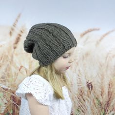 a7fcc4a29b8 Taupe Kids Knit Slouchy Beanie Hat with by WheatfieldKnitwear Slouchy Beanie  Hats