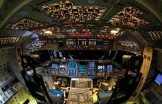 The cockpit of of space shuttle Endeavour, during a media tour at Kennedy Space Center, on April 6, 2012, in Cape Canaveral, Florida