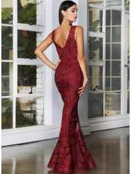 A stunning full length gown by Jadore JX4063. A v-neck style featuring an embellished floral applique. Wine Bridesmaid Dresses, Full Length Gowns, Lace Fabric, Skirt Fashion, Mother Of The Bride, Lace Dress, Formal Dresses, Floral, Applique