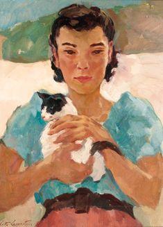 Lotte Laserstein (German artist, 1898-1993) - Provençal Girl with Cat , 1951