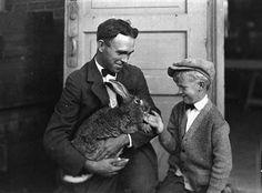 Man and boy with prize-winning rabbit. Minnesota State Fair, 1926.