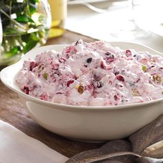 G Creamy Cranberry Salad Recipe from Taste of Home. Needs 2 cans of cranberry sauce. Used cool whip and cup powdered sugar Fresh Cranberry Salad, Cranberry Salad Recipes, Fruit Salad Recipes, Cranberry Fluff, Jello Salads, Cranberry Sauce, Blackberry Salad, Fresh Fruit, Thanksgiving Recipes
