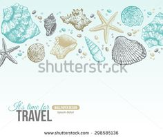 Summer Sea Shells Postcard Design. Vector Background with Seashells, Sea Star and Sand. Hand Drawn Etching Style (pay)