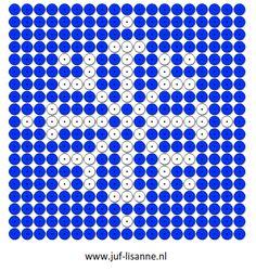 www.juf-lisanne.nl Sneeuwvlok kralenplank C2c, Winter Theme, Perler Beads, Beading Patterns, Squares, Globes, Lyrics, Dots, Nature