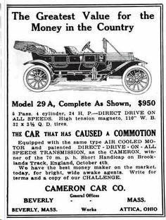 1912 Cameron Automobile Advertisement