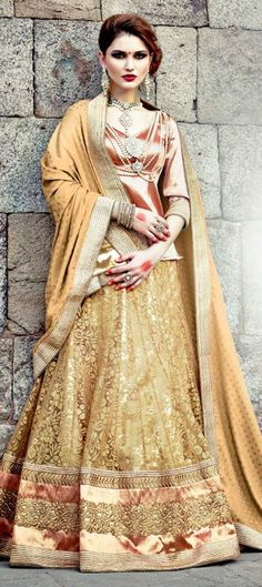 156756: FOR BRIDE-TO-BE: check out the #lehenga from new collection. Get flat 10% off + free shipping worldwide.  #Wedding #bridalwear #gold #beige #indianfashion #indianwedding #couture2015