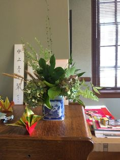 The first Ikebana flower arrangement by Ms. Iwata, MSU Japan Outreach Coordinator.  Flowers were provided by Dr. And Mrs. Clay Torsten and Clay Hiroko.