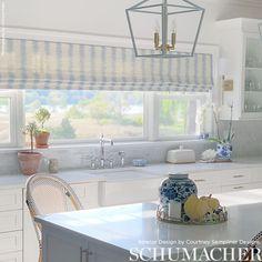 Kitchen Double Wide Roman Shade - Schumacher Attleboro Ikat (shown in Blue) Curtain Fabric, Fabric Decor, Curtains, Roman Shades Kitchen, Relaxed Roman Shade, Fabric Roman Shades, Double Window, Luxury Flooring, Custom Drapes