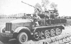 A Borgward SdKfz 7/2 medium halftrack with a 3.7cm FlaK 36 anti aircraft auto cannon