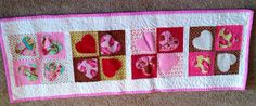 Handmade Quilted Valentine's Day Table Runner  by anniscrafts