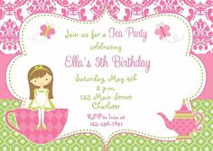 Princess Party Invitations with Benefits : Princess Tea Party Invitations. Birthday Invitation Message, Invitation Card Party, Free Birthday Invitation Templates, 1st Birthday Invitations, Invitation Wording, Invitation Ideas, Shower Invitations, Wedding Invitation, Girls Tea Party