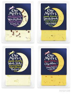 Over the Moon cheese. Without knowing the product positioning, on the surface, this looks way too child-like an approach for a cheese. More importantly, it's annoyingly hard to read all that script. You never want to make packaging that doesn't communicate effectively and quickly. I find I'm not over the moon about this approach.