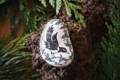 stone thieving magpie by littlevagaries on Etsy Large Letters, White Stone, Magpie, Natural Stones, I Shop, Christmas Bulbs, How To Draw Hands, Drawings, Handmade
