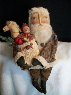 "Primitive doll~folk art ""PATTERN"" Ole time Santa 22 in. ~ by~ Dumplinragamuffin Primitive Santa, Primitive Crafts, Father Christmas, Christmas Crafts, Christmas Ideas, Christmas Time, Christmas Things, Christmas Design, Christmas Ornaments"