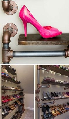 Iron Pipe Shoe Rack Click Pic for 18 DIY Shoe Storage Ideas for Small Spaces DIY Shoe Organization for Small Closets Diy Shoe Storage, Storage Ideas, Clothes Storage, Storage Baskets, Diy Clothes, Simple Closet, Small Closets, Shoe Organizer, Organizers