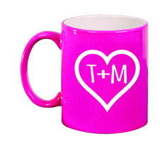 Ceramic Mugs - Round 11oz - Initials within Heart Personalized