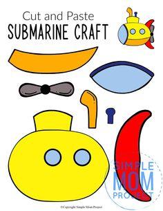 Sea Animal Crafts, Animal Crafts For Kids, Summer Crafts For Kids, Toddler Crafts, Art For Kids, Big Kids, Submarine Craft, Yellow Submarine, Craft Activities
