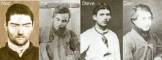 The Kelly Gang, consisted of Ned Kelly and brother Dan, Joseph Byrne and Steve Hart. Ned Kelly, Australian Photography, Australian Bush, Victoria Australia, Interesting History, Historical Pictures, Mug Shots, World History, Bad Boys